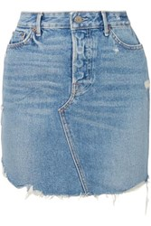 Grlfrnd Rhoda Distressed Denim Mini Skirt Mid Denim