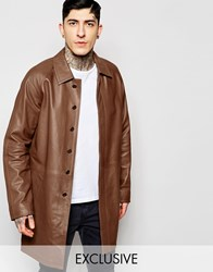 Black Dust Leather Trench Coat Tan