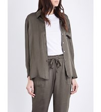 Raquel Allegra Loose Fit Georgette Shirt Hunter Green