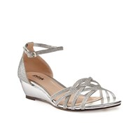 Paradox London Pink Avery Strappy Glitter Wedge Sandals Silver