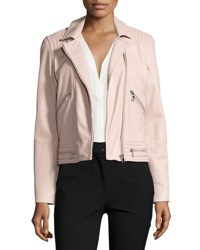 Rebecca Taylor Washed Leather Motorcycle Jacket Pink
