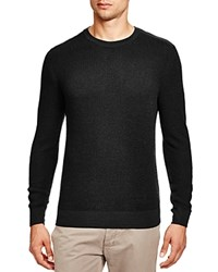 Bloomingdale's The Men's Store At Thermal Stitch Merino Wool Crewneck Sweater Dark Grey