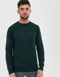 Brave Soul 100 Cotton Crew Neck Knitted Jumper In Green