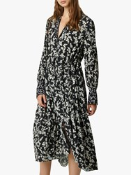 French Connection Bruna Floral Shirt Dress Black Classic Cream
