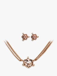 Dyrberg Kern Swarovski Crystal Stud Earrings And Pendant Necklace Jewellery Set Rose Gold