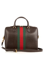 Gucci Webby Grained Leather Briefcase Brown Multi