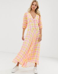 Ghost Check Print Midi Dress With Puff Sleeves Multi