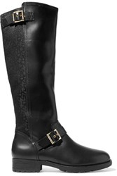 Dkny Nadia Buckled Leather And Canvas Knee Boots Black