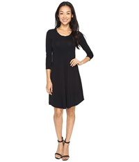 Mod O Doc Cotton Modal Spandex Jersey Crescent Empire Seam Dress Black Women's Dress