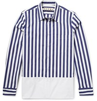 Marni Striped Cotton Poplin Shirt Midnight Blue