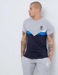 Gym King Muscle T Shirt With Navy Chevron White