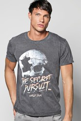 Boohoo Tour Skull Washed T Shirt Charcoal