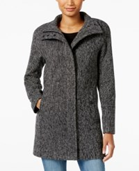 Lucky Brand Stand Collar Asymmetrical Walker Coat Black White Tweed