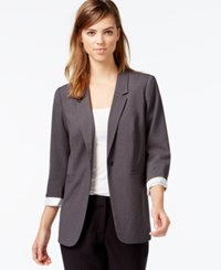 Kensie Three Quarter Sleeve Blazer Only At Macy's Heather Dark Grey