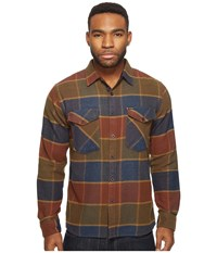 Brixton Weldon Long Sleeve Flannel Olive Brown Men's Long Sleeve Button Up