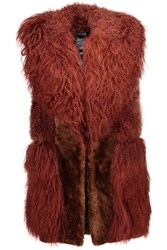 Just Cavalli Paneled Shearling Vest Brick