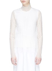Kuho Mesh Turtleneck Top White