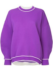 Tibi Structured Sleeve Jumper Purple