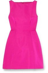 Brandon Maxwell Silk Faille Mini Dress Fuchsia