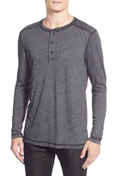 Men's Michael Stars Long Sleeve Triblend Henley Black