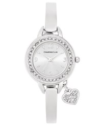Charter Club Women's Heart Charm Silver Tone Bangle Bracelet Watch 26Mm Only At Macy's