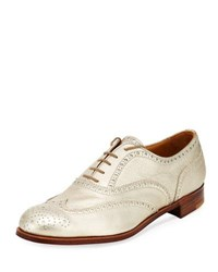 Gravati Metallic Leather Wing Tip Oxford Gold