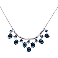 Monet Faceted Montana Statement Necklace Silver