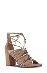 Nine West Women's Genie Lace Up Sandal Natural Suede