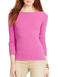 Lauren Ralph Lauren Petite Cotton Ballet Neck Shirt Pink