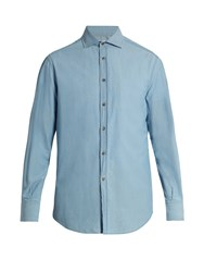 Brunello Cucinelli French Collar Cotton Denim Shirt Light Denim