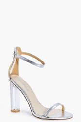 Boohoo Clear Heel Two Part Silver