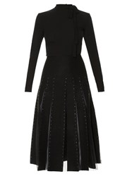 Valentino Crystal Embellished Georgette And Felt Dress Black