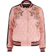 River Island Womens Pink Floral Embroidered Quilted Bomber Jacket