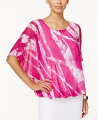 Alfani Petite Printed Bubble Hem Blouse Only At Macy's Printed Garden