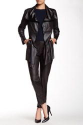 Insight Long Cracked Faux Leather Jacket Gray