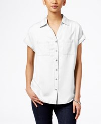 Styleandco. Style And Co. Short Sleeve Denim Shirt Only At Macy's Bright White