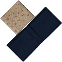 Maison Takuya Ostrich T6 Wallet Beige And Midnight Blue Lining