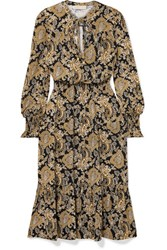 Michael Michael Kors Paisley Print Stretch Jersey Midi Dress Gold