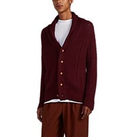 Barneys New York Cable Knit Alpaca Cotton Cardigan Wine
