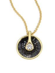 Pleve Opus Black Diamond And 18K Yellow Gold Pendant Necklace Gold Black