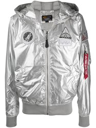 Alpha Industries X Nasa Metallic Hooded Jacket Silver