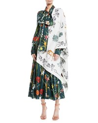 Oscar De La Renta Enchanted Forest Wool Silk Wrap White Pattern