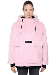 Gcds Hooded Faux Fur Anorak W Logo Patch Pink