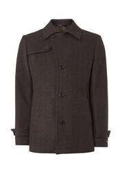 Remus Uomo Knoxx Short Tweed Formal Tweed Overcoat Brown