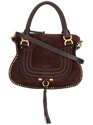 Chloe Marcie Tote Bag Cotton Calf Leather Calf Suede Brown