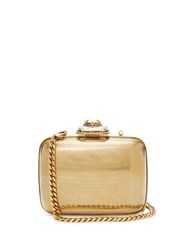Alexander Mcqueen Mini Crystal Embellished Metal Clutch Gold