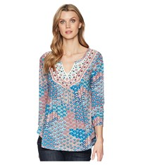 Roper 1575 Printed Ity Jersey Peasant Top Blue Clothing
