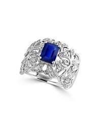 Effy Royale Bleu Sapphire And Diamond 14K White Gold Ring 0.36 Tcw Blue