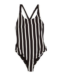 Milly Minis Striped Scoop Neck One Piece Swimsuit Size 7 16 Black White