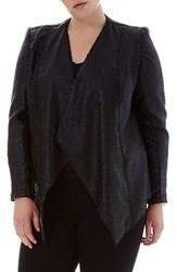Elvi Plus Size Women's Snake Embossed Waterfall Jacket